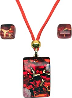 Murano Glass Set of Rectangle Pendant and Earrings (Red)