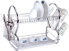 SQ Professional 2 Tier Dish Drainer Chrome Rack with Drip Tray