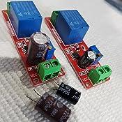 DC 12V NE555 Circuito de rel/é de retardo monoestable M/ódulo de conducci/ón Disparador Interruptor Temporizador Ajustable Time Shield Electronics Arduino Rojo