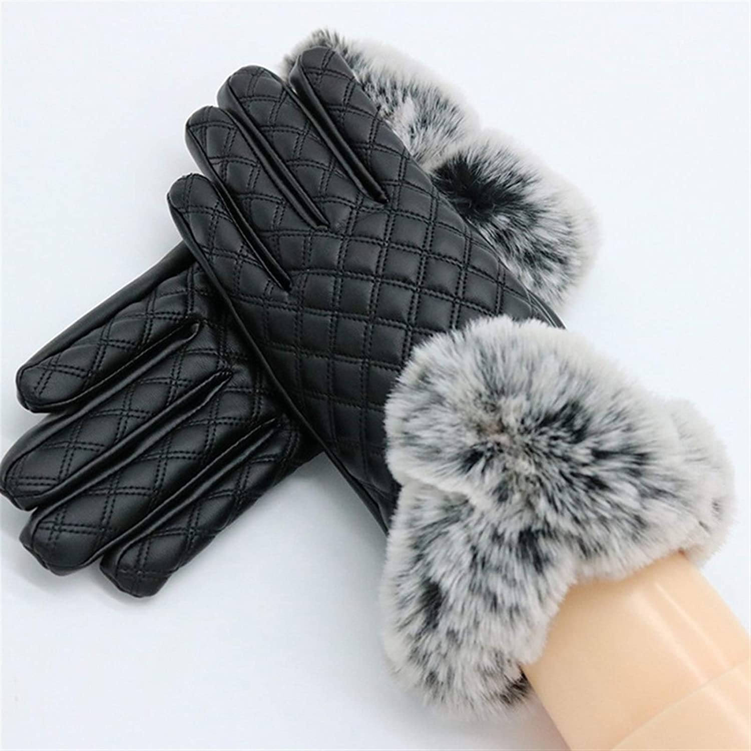 DZHT Women Touch Screen Gloves PU Leather Female Waterproof Thick Gloves Red Black Warm Spring Winter Gloves (Color : 3)