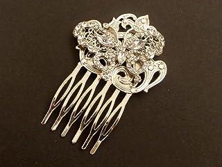 Pettine per capelli argento con farfalla
