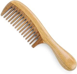 Onedor Handmade 100% Natural Green Sandalwood Hair Combs - Anti-Static Sandalwood Scent Natural Hair Detangler Wooden Comb (Wide Tooth)