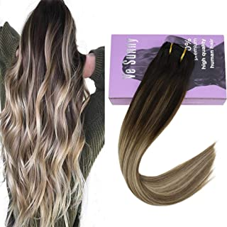 VeSunny Clip in Hair Extensions Ombre Balayage Full Head Color #3 Fading to #8A Mix #18B Ash Blonde Highlighted Clip in Human Hair Extensions Real Remy Hair 14inch 7pcs/120g