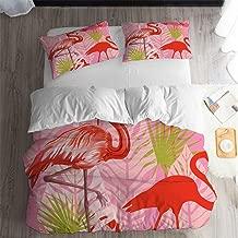 ARL HOME Forest Flamingo Bedding 3PC Full Cartoon Duvet Cover Rainforest Leaves Bedding Red Flamingo Bedroom Decor Couple Bedding Flamingo Birds Quilt Cover(2 Pillow Cases)