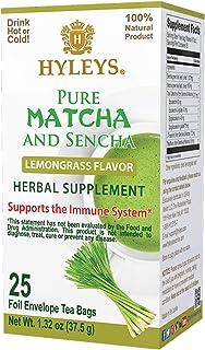 Hyleys Tea Japanese Pure Matcha Lemongrass Green Tea - 25 Tea Bags (Sugar Free, Gluten Free and Non-GMO)