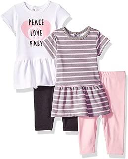 Hanes Ultimate Baby Girls Flexy Set-2 Short Sleeve Dresses with 2 Leggings