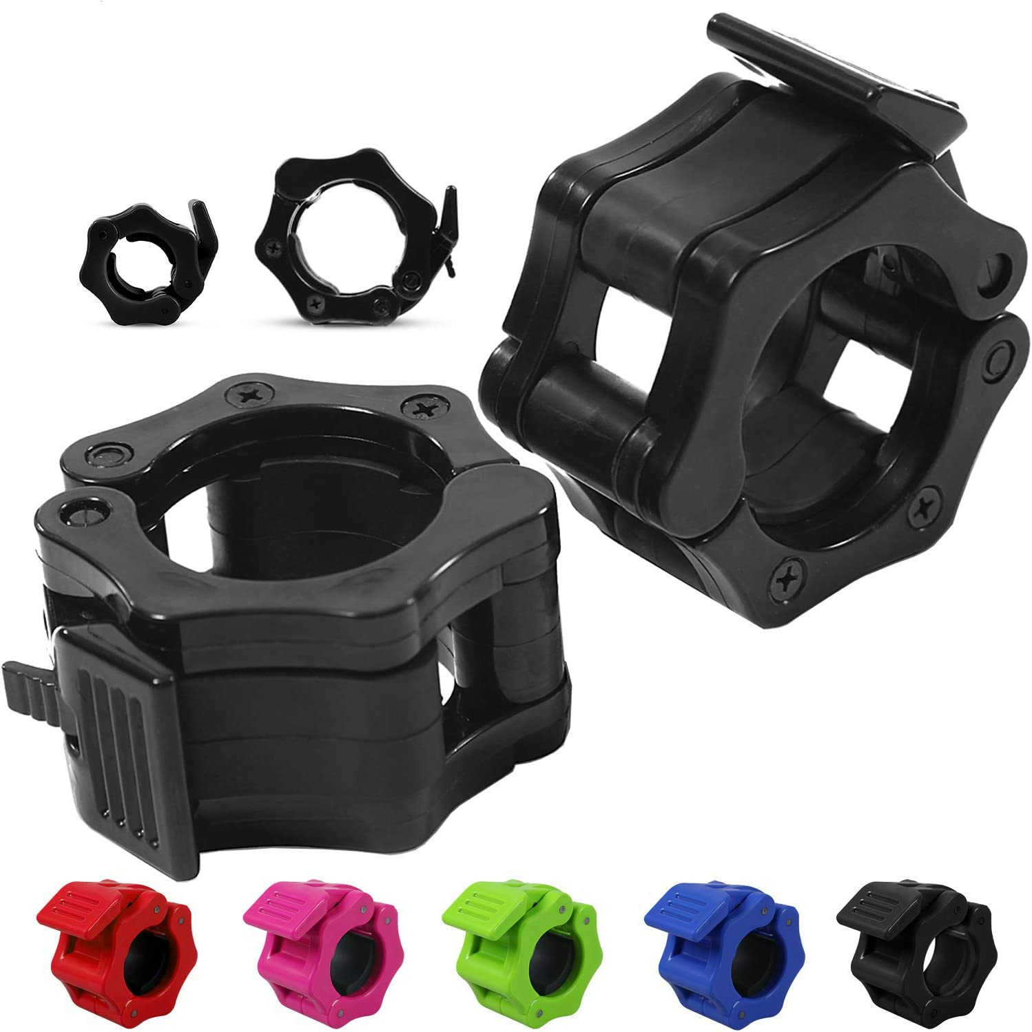 """Choose Size 1/"""" or 2/"""" Day 1 Fitness Quick-Release Safety Collars Set of 2 Weight Locking Clips: 1 inch Standard Weightlifting OR 2 inch Olympic Bars 5 Color Options Heavy-Duty Plate Clamps"""