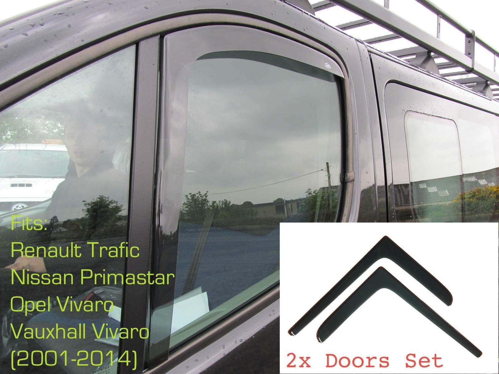 Amazon.es: 2x Deflectores de Aire Compatible con Renault Trafic (tipo X83) 2001 - 2014 (MK2) Opel Vivaro Primastar Derivabrisas protección sol lluvia nieve viento Vidrio acrílico PMMA de primera calidad