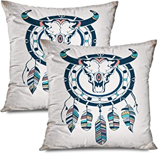 Ahawoso Set of 2 Throw Pillow Covers Square 20x20 Buffalo Skull Use Feathers Print Hipster Indian Dreamcatcher Sketch Deer Abstract Skeleton Tattoo Zippered Pillowcases Home Decor Cushion Cases