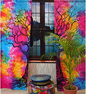 Bedroom Window Mandala Curtains Drape Balcony Room Decor Tie Dye Curtain Set (Multi Color Tree of Life)