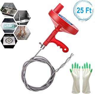 Plumbing Snake Drain Auger 25 Feet, Professional Sink Snake for Removing Sink Clog, Snake Drain for Bathtub Shower Drain, Comes with Gloves