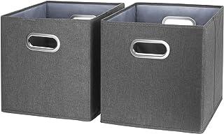 TYEERS Lot de 2 Boîte de Rangement Lavable Pliable Cube de Rangement en Tissu Ouvert avec Poignée pour Armoire Bibliothèqu...