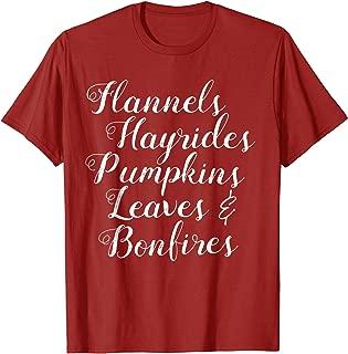Flannels Hayrides Pumpkins Leaves & Bonfires Shirt Fall Tee