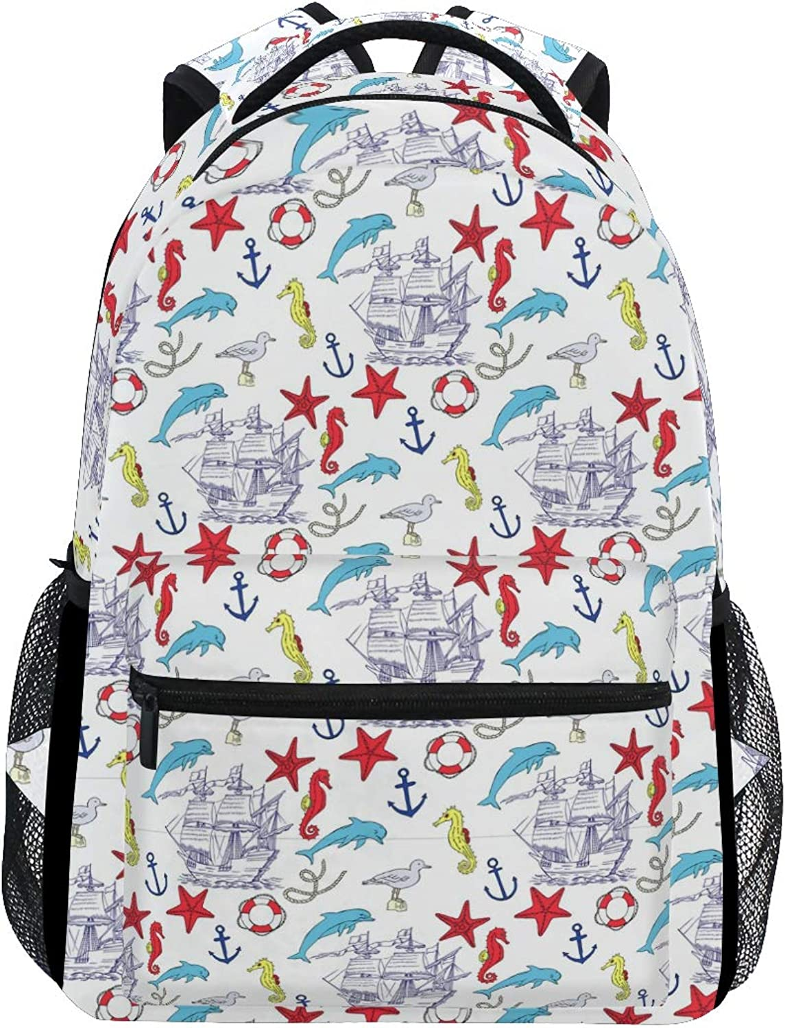 a406158b7b6d Nautical Pattern with Sailing Vessels Large Travel Outdoor Sports ...