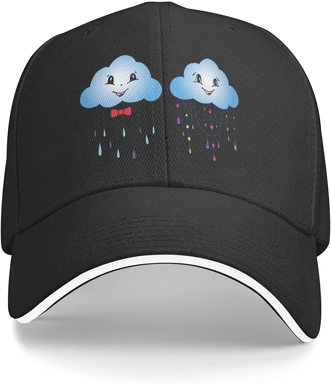 Funny Cartoon Cloud Rain Adjustable Baseball Cap for Men Women Peaked Sandwich Dad Hat Black