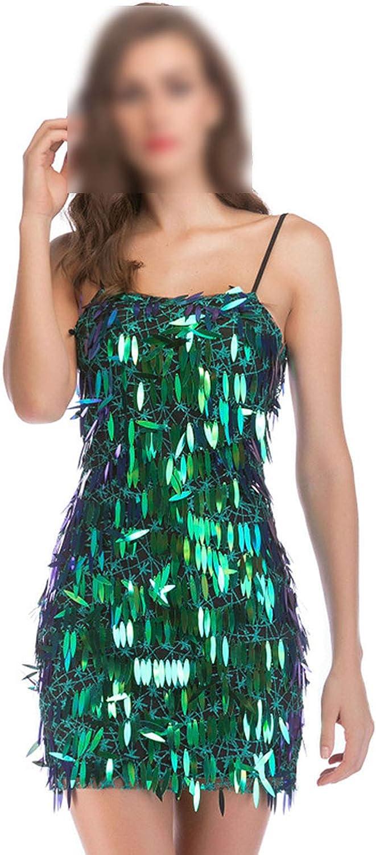 New Sexy Nightclub Sling Halter Green Sequin Dress Short Skirt Summer