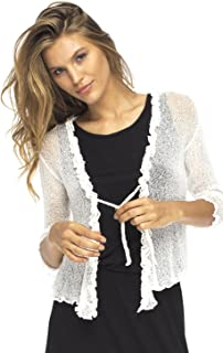 Womens Sheer Shrug Cardigan Sweater Ruffle Lightweight Knit