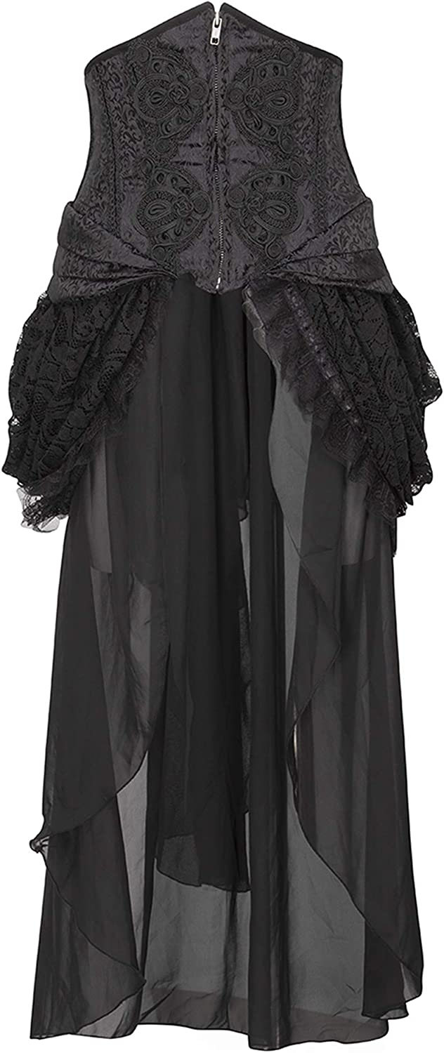 Glam and Gloria Womens Black Brocade Lace Goth Steampunk Burlesque Bustle Skirt