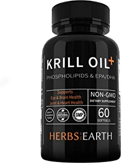 Krill Oil with Omega-3s EPA, DHA, Astaxanthin and Phospholipids – 100% Pure Premium Krill Oil - Heavy Metal Tested, Non GM...