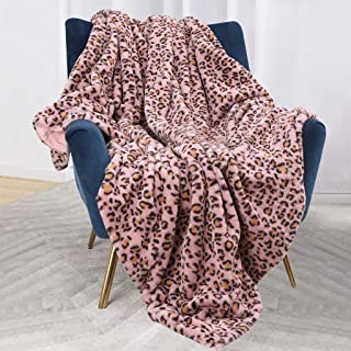 Bonzy Home Luxury Faux Fur Bed Blanket, Super Soft Fuzzy Cozy Warm Fluffy Plush Hypoallergenic Reversible Blankets for Bed Couch Chair Fall Winter Spring Living Room (60 x 80) - Pink Leopard Print