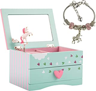 Amitié Lane Unicorn Jewelry Box for Girls & Kids Unicorn Jewelry for Girls - Two Unicorn Gifts for Girls Including Mint Green and Pink Unicorn Music Box and Unicorn Charm Bracelet