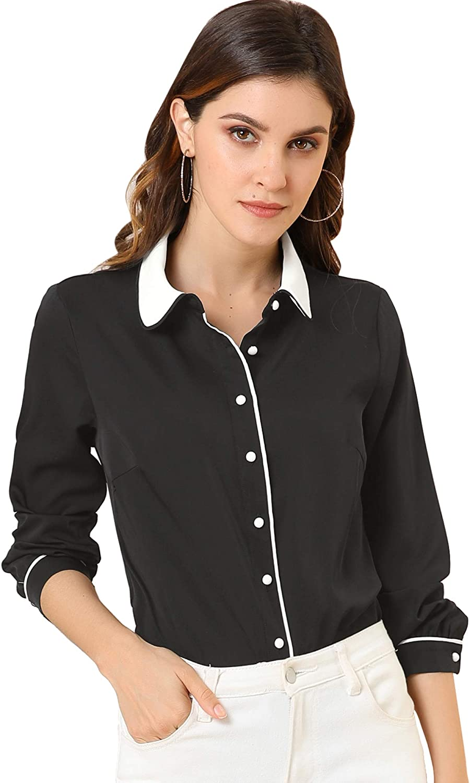 Allegra K Women's Peter Pan Collar Shirt Long Sleeve Vintage Work Top Blouse