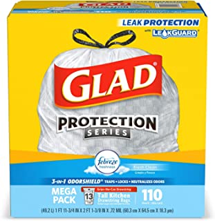 Glad Tall kitchen drawstring trash bags - odorshield 13 gallon white trash bag, febreze fresh clean, White, NOT APPLICABLE...