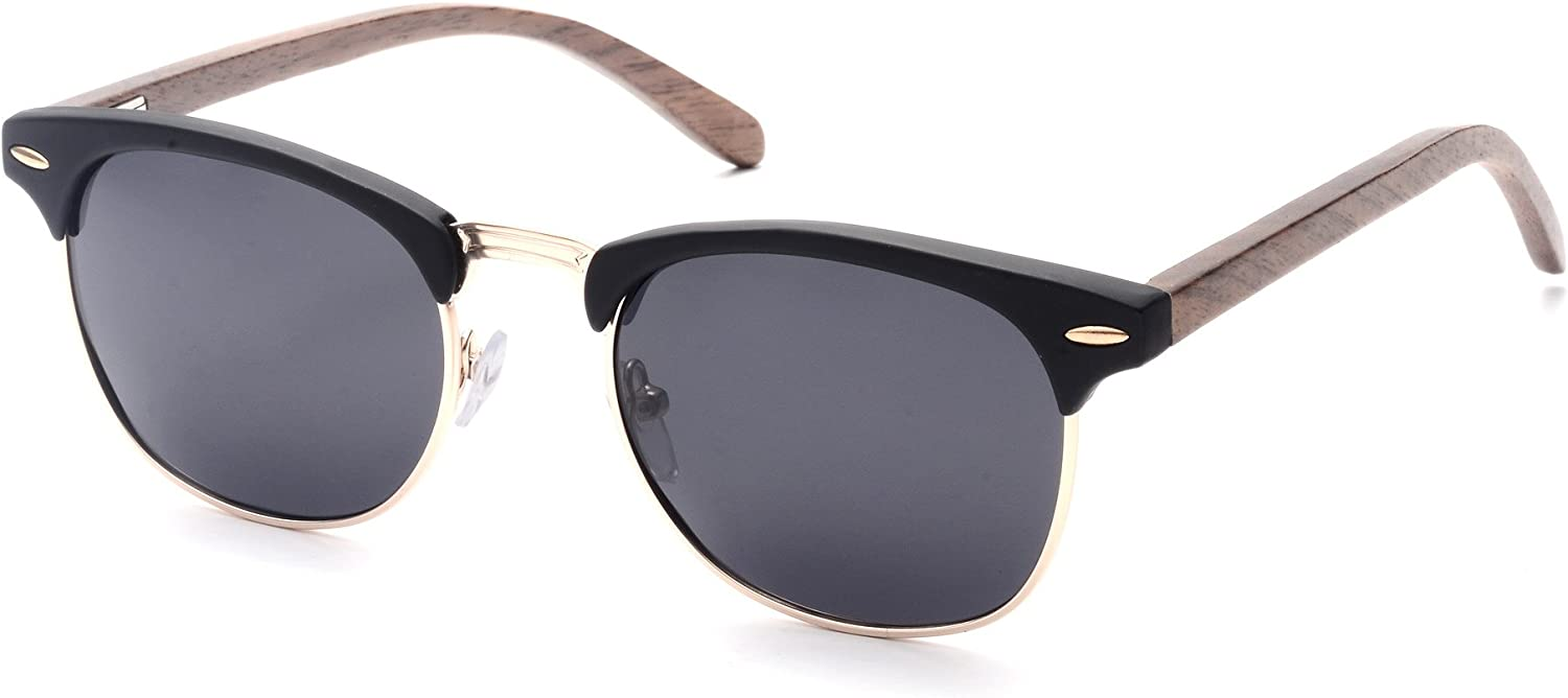 SKADINO Clubmaster Bamboo Wood Sunglasses with Polarized Lens