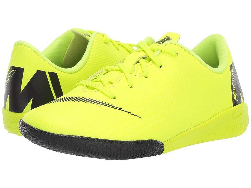 Nike Kids VaporX 12 Academy IC (Toddler/Little Kid) (Volt/Black) Kids Shoes