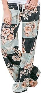 Women's Comfy Stretch Floral Print High Waist Drawstring Palazzo Wide Leg Pants