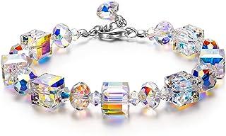 Susan Y Regalo di Festa della Mamma Bracciali da Donna, Aurora Boreale Bracciali Cristalli di Austria, Elegante Scatola di...