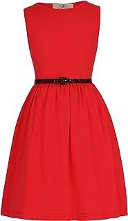 Girls Sleeveless Crew Neck Floral A-Line Dress