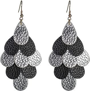 vintage leather teardrop earrings Multi Layer Bohemian Genuine Leather Dangle Earrings for women gift