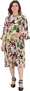 Lastinch Women's Plus Size Pink Floral Printed Aline Dress