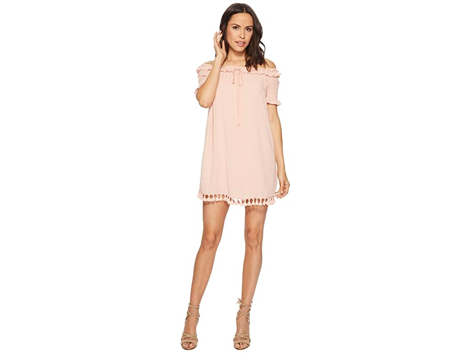 Jack by BB Dakota Carnes Crinkle Rayon Off the Shoulder Dress (Dusty Rose) Women