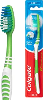 Colgate Extra Clean 25 percent Recycled Plastic Handle Soft Bristles Manual Toothbrush 1 Pack