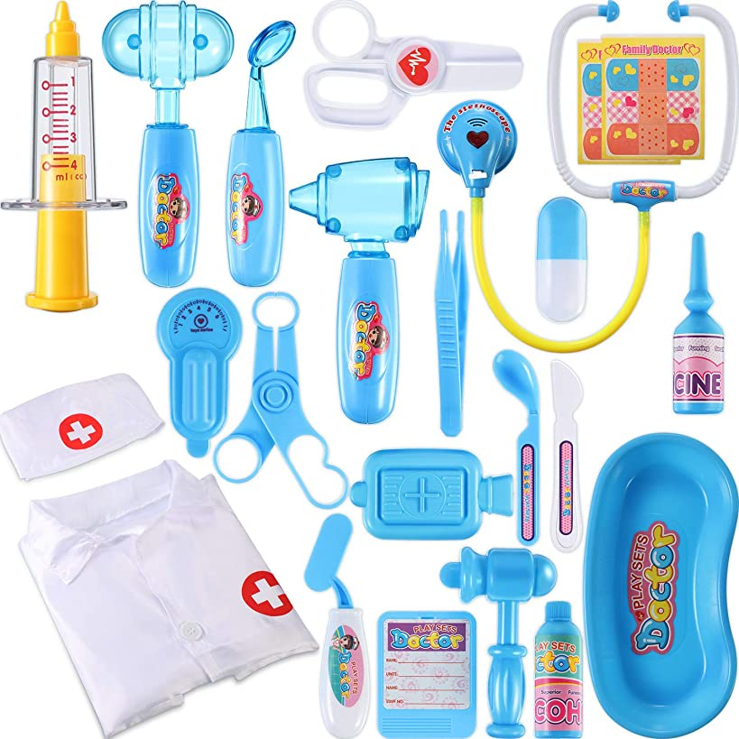 Chuangdi 24 Pieces Doctor Kit for Kids Realistic Medical Toy Play Pretend Set Doctor Dress Up Kit for Toddler Doctor's Equipment (Blue)