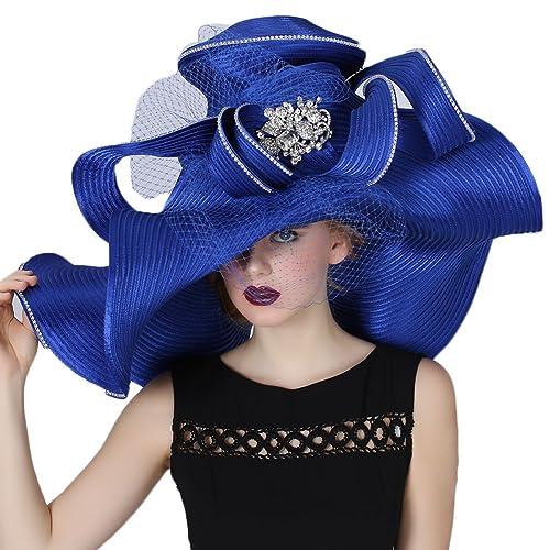 June s Young Women Hat Large Brim Blue Color Church Wedding Dress 2135af5778c