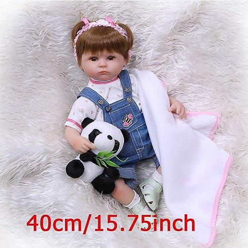 Mmnas 16 Zoll Babypuppe,Reborn Puppe Realistische Vinyl Silikon Neugeborenes Baby Spielzeug mädchen Prinzessin Kleidung Lebensechte Handgemachte Geburtstagsgeschenke