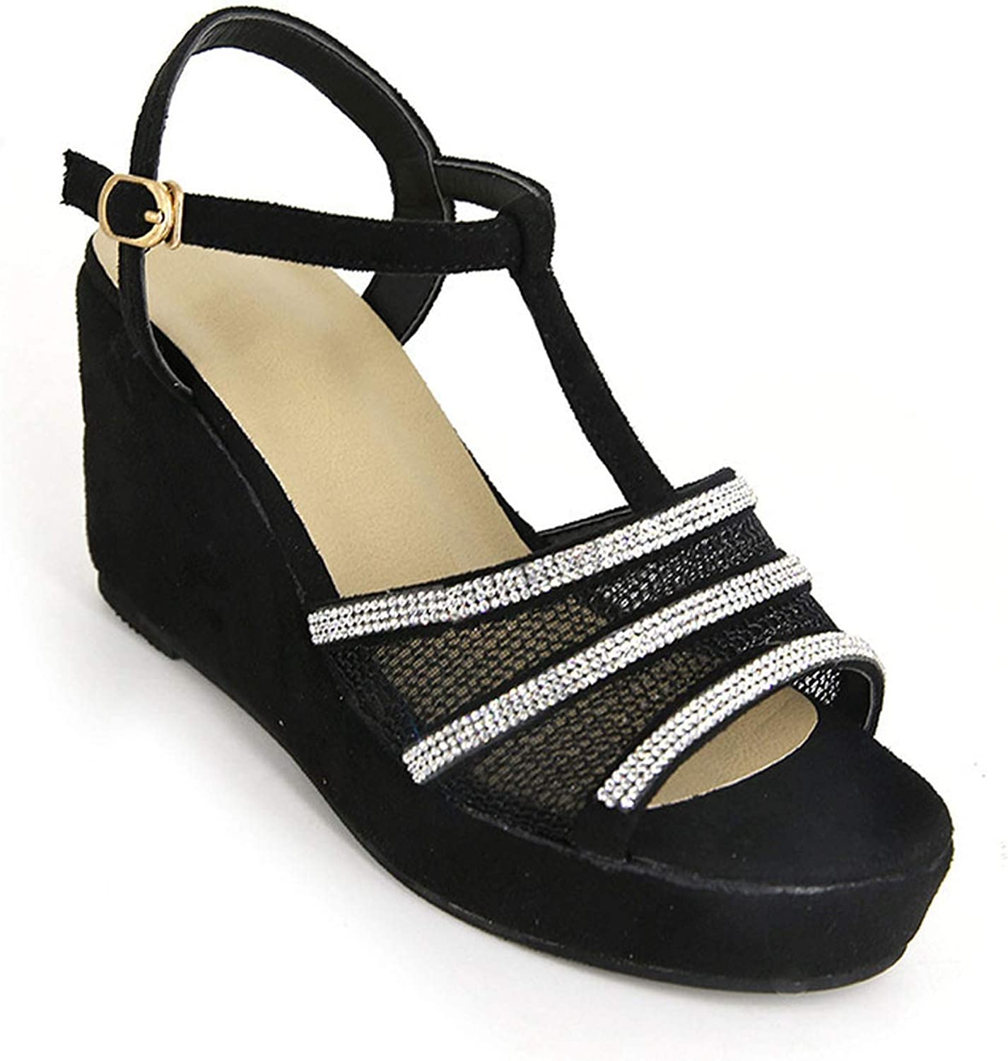 Pink-star Sandals Wedge Heeled Roman shoes Thick-Soled Large Size Women's Sandals