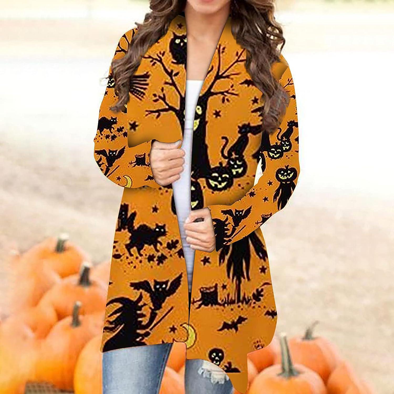 Womens Pumpkin Print Halloween Cardigans Long Sleeve Jacket Top Cat Lightweight Long Sweaters Plus Size Open Front Shirts