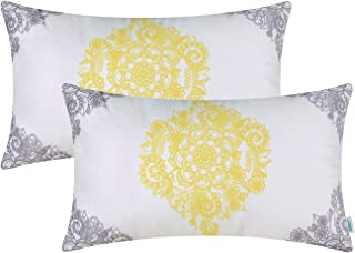 CaliTime Pack of 2 Cozy Bolster Pillow Cases Covers for Couch Bed Sofa Manual Hand Painted Print Vintage Mandala Flora 12 X 20 Inches Grey/Yellow