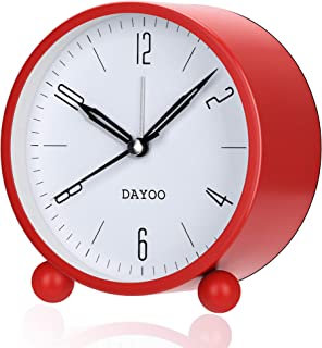 DAYOO Alarm Clock, 4 Inch Round Alarm Clock Non Ticking with Snooze, Battery Operated and Light Function, Super Silent Alarm Clock, Simple Stylish Design for Desk/Bedroom (Red)