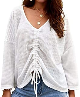 Loyomobak Womens Blouse Sexy Long-Sleeve V Neck Drawstring Loose Fit Tie Tee Shirts Top