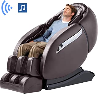 Massage Chair Recliner, Zero Gravity Massage Chair, Full Body Massage Chair with SL Double Track, 3D Robot Hands, Yoga Stretching, Bluetooth Speaker& Air Massage (Brown)