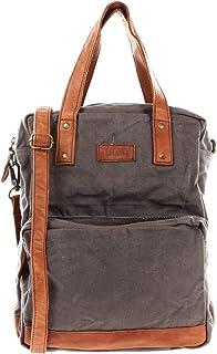 LECONI Rucksack & Umhängetasche in einem für Damen & Herren Retro Backpack Canvas + echtes Leder Bodybag DIN A4 Schulterta...