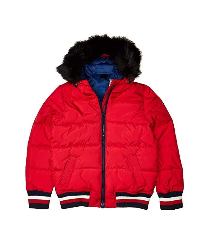 Tommy Hilfiger Adaptive  Faux Fur Hooded Puffer (Crimson) Womens Clothing