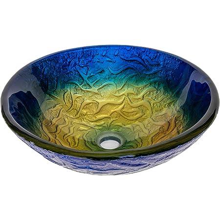 Eden Bath True Planet Embossed Hand Painted Multi Colored Round Glass Bathroom Vessel Sink Vessel Sinks Amazon Com