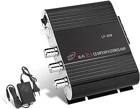 GHB Amplificador Audio Coche Mini Amplificador Estéreo para Auto y Casa Uso Dual 200W 2.1 CH MP3 CD DVD