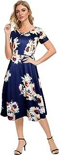 Afibi Floral Printed Petite Flared Midi Dresses for Women Short Sleeve